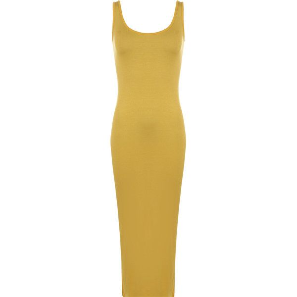 WearAll Scoop Neck Maxi Dress ($12) ❤ liked on Polyvore featuring dresses, mustard, brown maxi dress, scoop neck maxi dress, mustard yellow dress, brown sleeveless dress and mustard dress