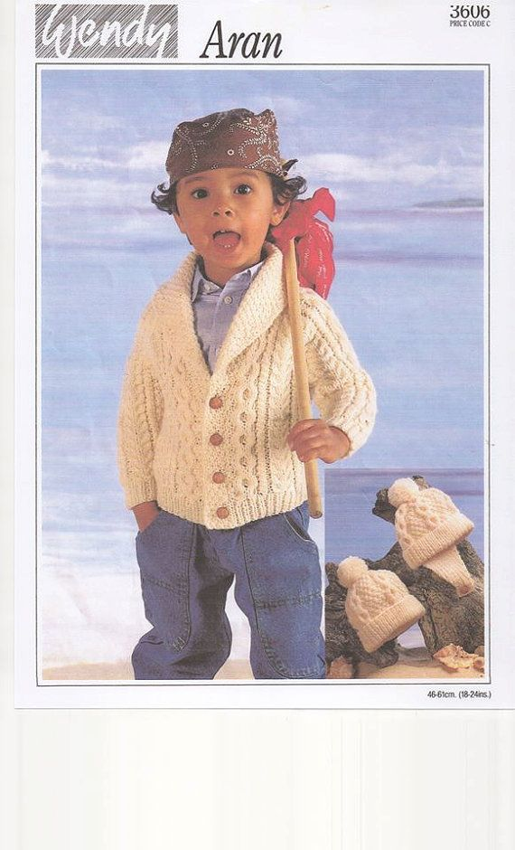Wendy 3606    Knitting pattern for Boys Cardigan in Aran yarn. To fit chest sizes18-24 inches. Suit child age 1-3 years. Vintage pattern from the 1980s. A photocopy of the original knitting pattern is available for instant download in PDF format. Please note that we are now on Facebook and would love your support; click the like button to stay up to date with our new additions.