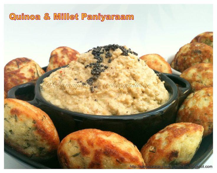 Quinoa & Millet Paniyaaram / Quinoa & Millet popovers, Kodo millet and Quinoa cooked in Aebleskiver