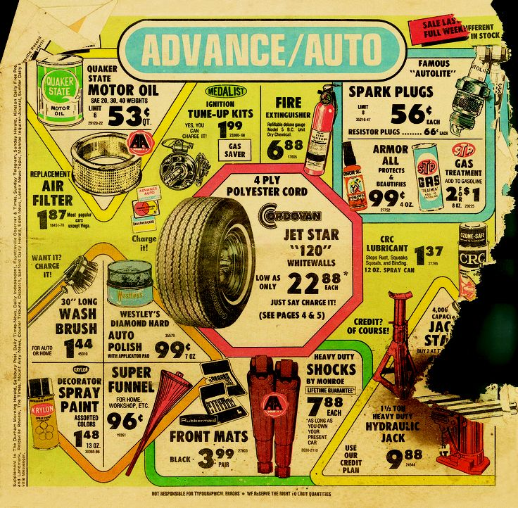 Advance Auto Parts newspaper ad from 1977. throwback