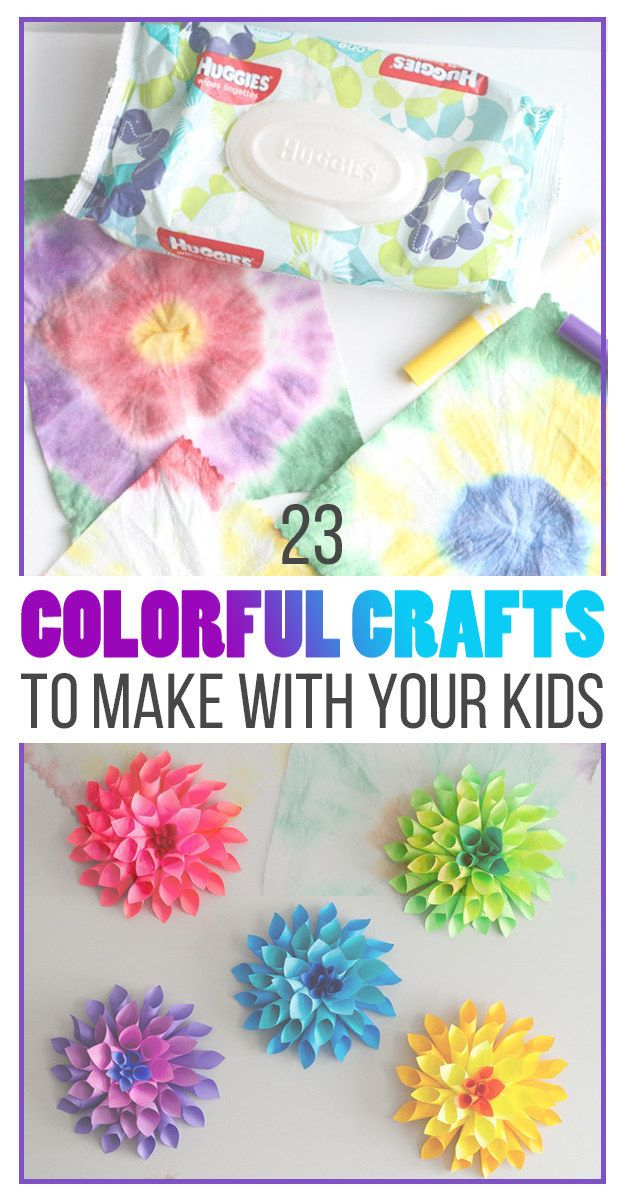 Love these rainbow-colored crafts -- great projects for the kids!