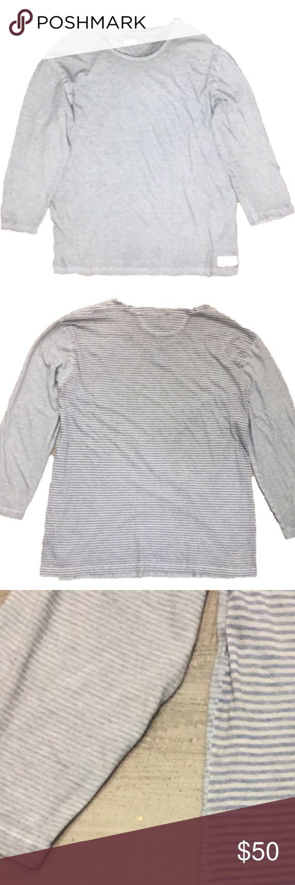 All Saints Spitalfields Long Sleeve Stripes Tee XL Excellent condition, super soft striped men's long sleeve t-shirt.  Small striped front, larger striped back.  XL. All Saints Shirts Tees - Long Sleeve