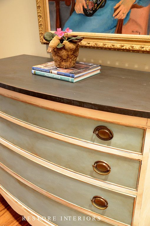 beautiful bow front chest -ASCP graphite top, old white for the body, provence on drawers, clear wax, then dark wax and gold gilding wax to detail rims of drawers  raised ares. * Might be redo-ing my duck egg sideboard....