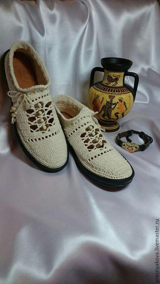 Обувь ручной работы. Ярмарка Мастеров - ручная работа. Купить Вязаные слиперы.. Handmade. Белый, вязаная обувь, балетки