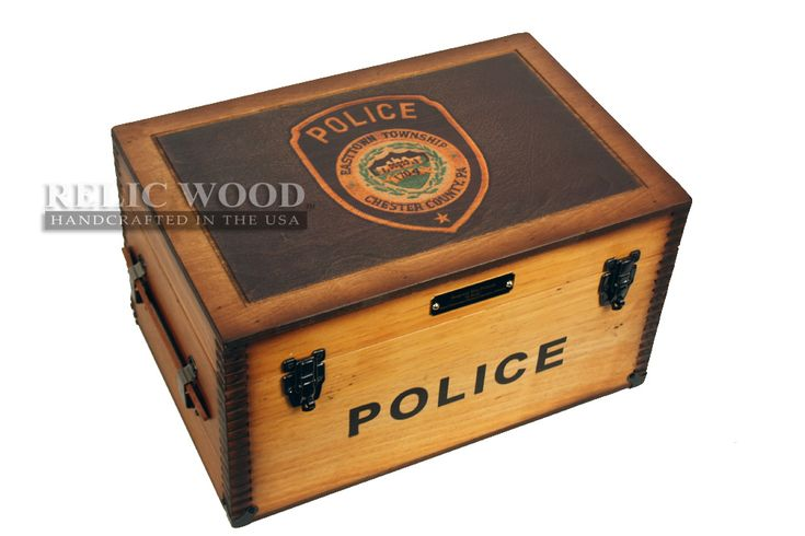 Custom Police Officer gift ideas. Put your Police Department Patch on our hand made vintage keepsake boxes.
