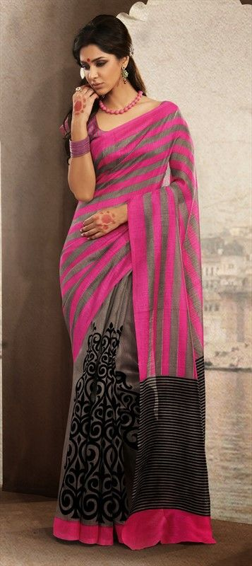 129289, Printed Sarees, Silk, Bhagalpuri, Printed, Multicolor Color Family