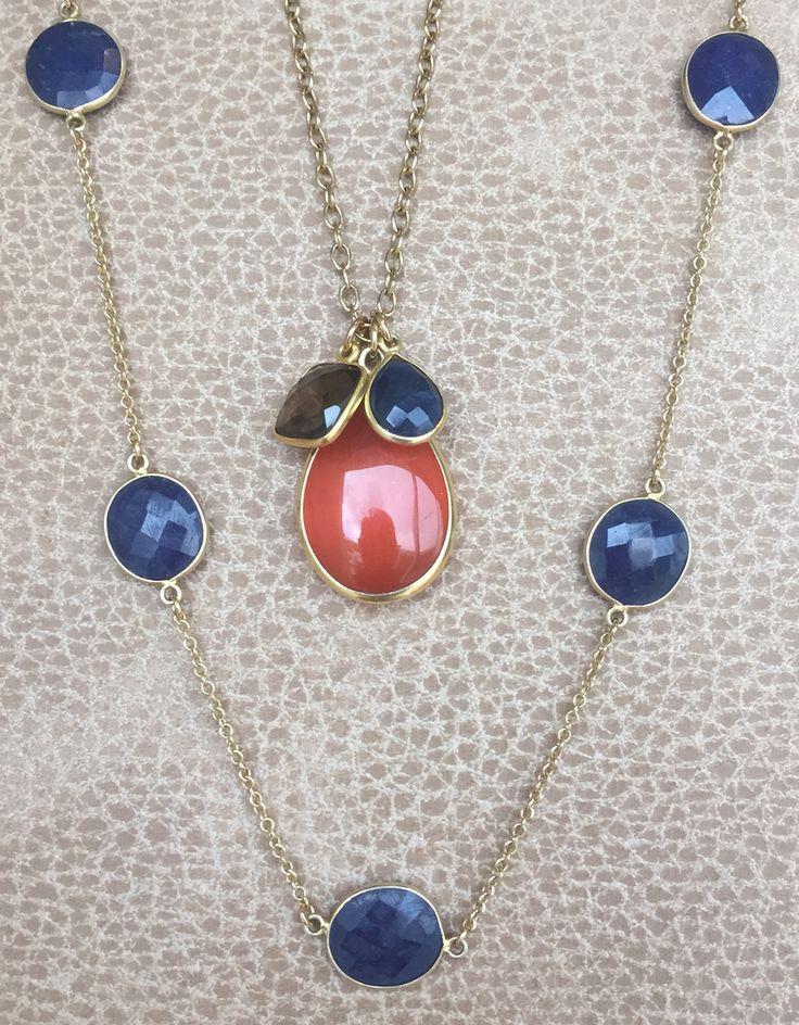Carnelian pendant with Smokey Quartz and Lapis Lazuli