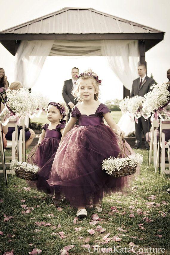 Plum Flower Girl Dress by OliviaKateCouture on Etsy, $145.00