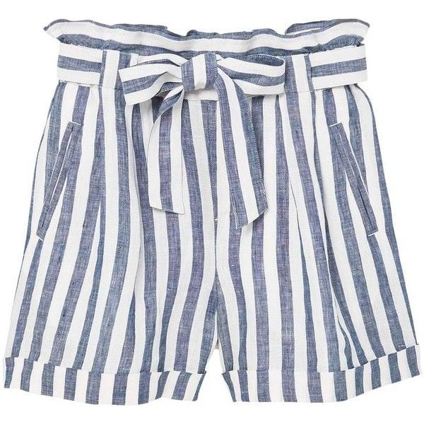 Linen-Blend High-Waist Shorts ($37) ❤ liked on Polyvore featuring shorts, high rise shorts, high waisted bow shorts, high-rise shorts, stretch waist shorts and elastic waist shorts