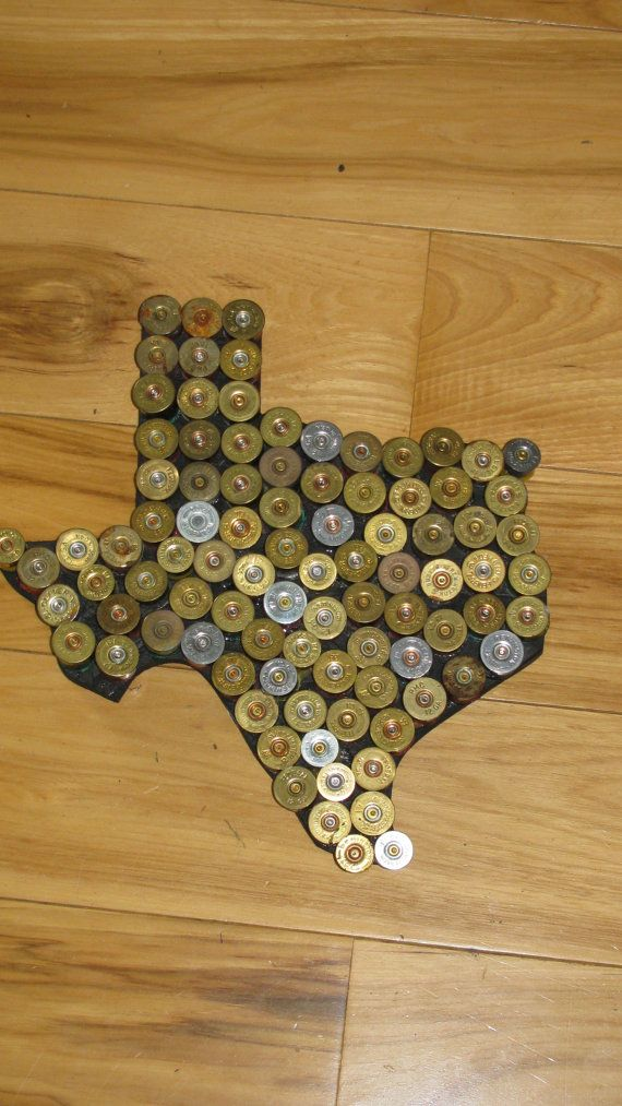 Shotgun shell Texas man cave wall hanger hunting art... with Michigan Mitten, of course~