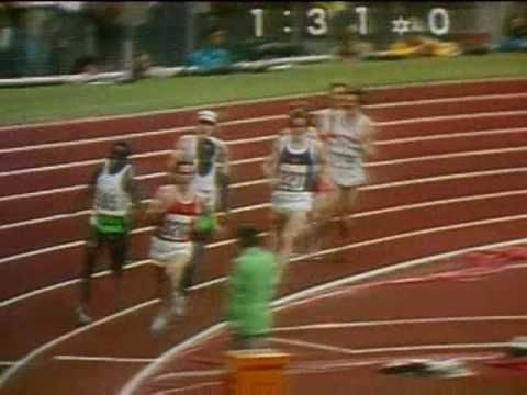 1972 Olympics 800m mens.  Dave Wottle of Canton, Ohio, sprinted from last place to get the gold.