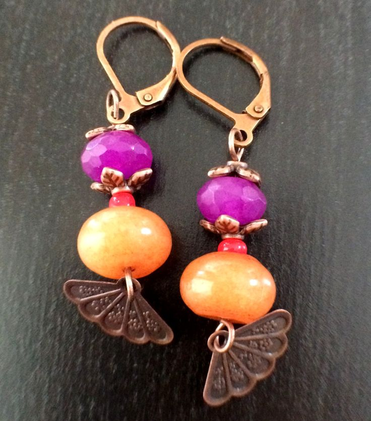 Oriental Fan Copper Plated Brass Red Aventurine Earring! TS51E0046 by Theshobs on Etsy