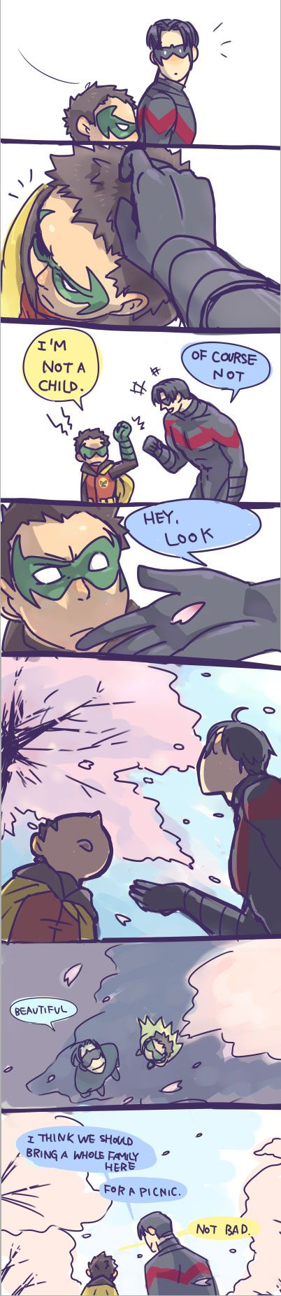 Dick Grayson and Damian please just one day the bat fam can just have a little peace and happiness great idea boys!!!