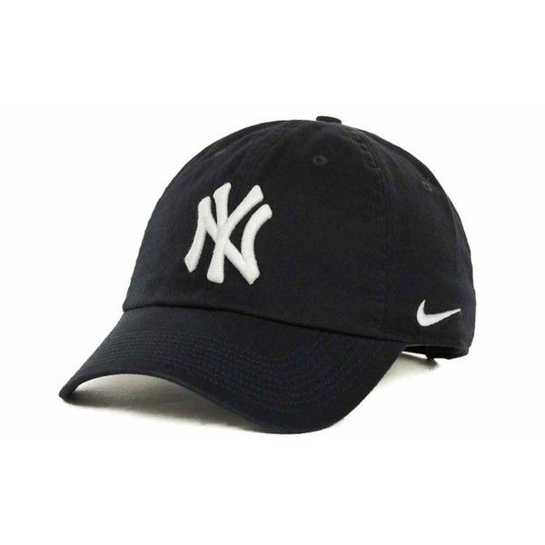 Nike Women's New York Yankees Stadium Cap found on Polyvore featuring accessories, hats, caps, nike, navy, navy hat, embroidered caps, navy cap, nike cap and logo caps