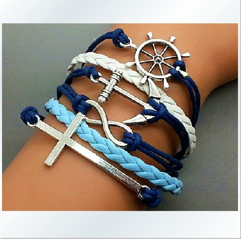 Hand-knitted leather cord 6-layer bracelet