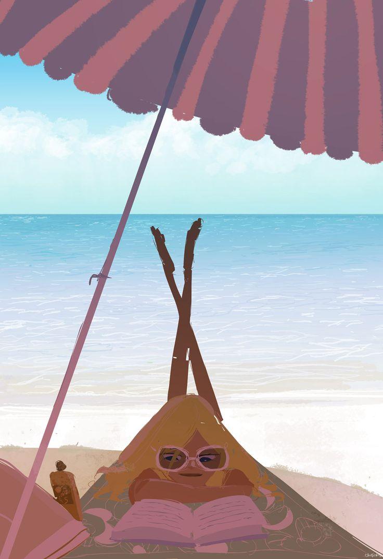 Reading under the umbrella / Lectura bajo la sombrilla (ilustración de Pascal Campion)