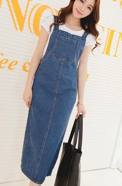 Denim Dress Casual New Summer Sexy Denim Loose Strap Casual Long Denim Dress Blue Overalls Jeans Dress