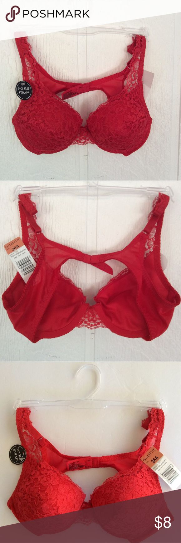 💋VASSARETTE NWT PADDED PUSH UP BRA💋💋 NWT padded sexy cherry red push up bra.  Never worn.  All over lace covering material on cups and on front straps.  3 closure positions.  No slip straps technology. Vassarette Intimates & Sleepwear Bras