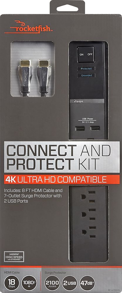 Rocketfish™ - 7-Outlet Surge Protector with 8' In-Wall HDMI Cable - Black