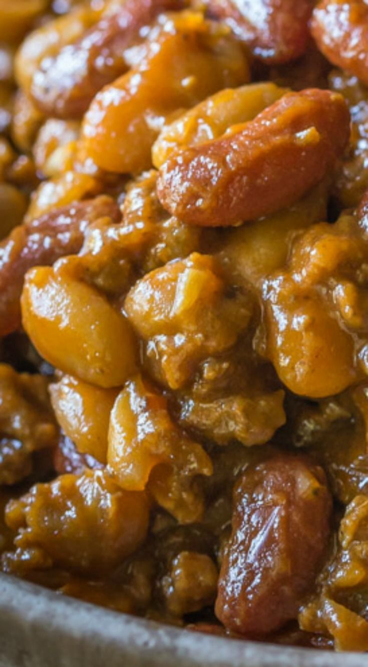 Cowboy Baked Beans ~ Best BBQ Baked Beans with Beef...  So tasty! Also known as Cowboy Beans or Southern Baked Beans