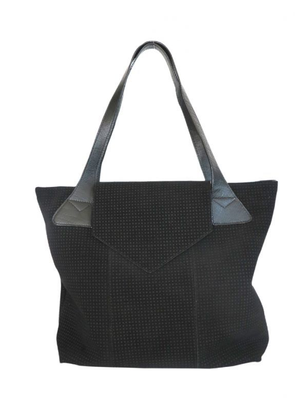 front-feature-photo-black-sude-flaped-bucket-tote