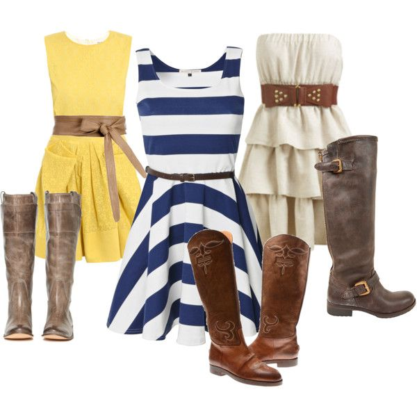 Summer dresses and cowboy boots <3, created by snghiem