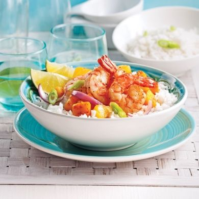 Crevettes poêlées mangue et ananas - Soupers de semaine - Recettes 5-15 - Recettes express 5/15 - Pratico Pratiques