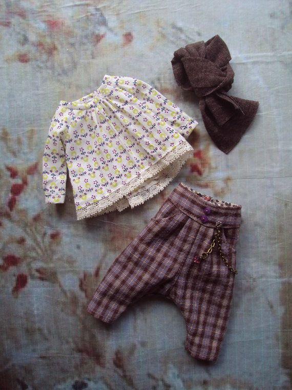 Monkey Pants set for Blythe - heather checks