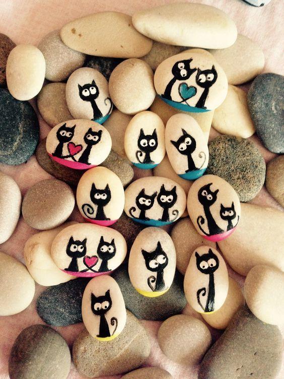 Şaşkın kediler, Katzen , Cats , paintedstone, stonepaintings,: