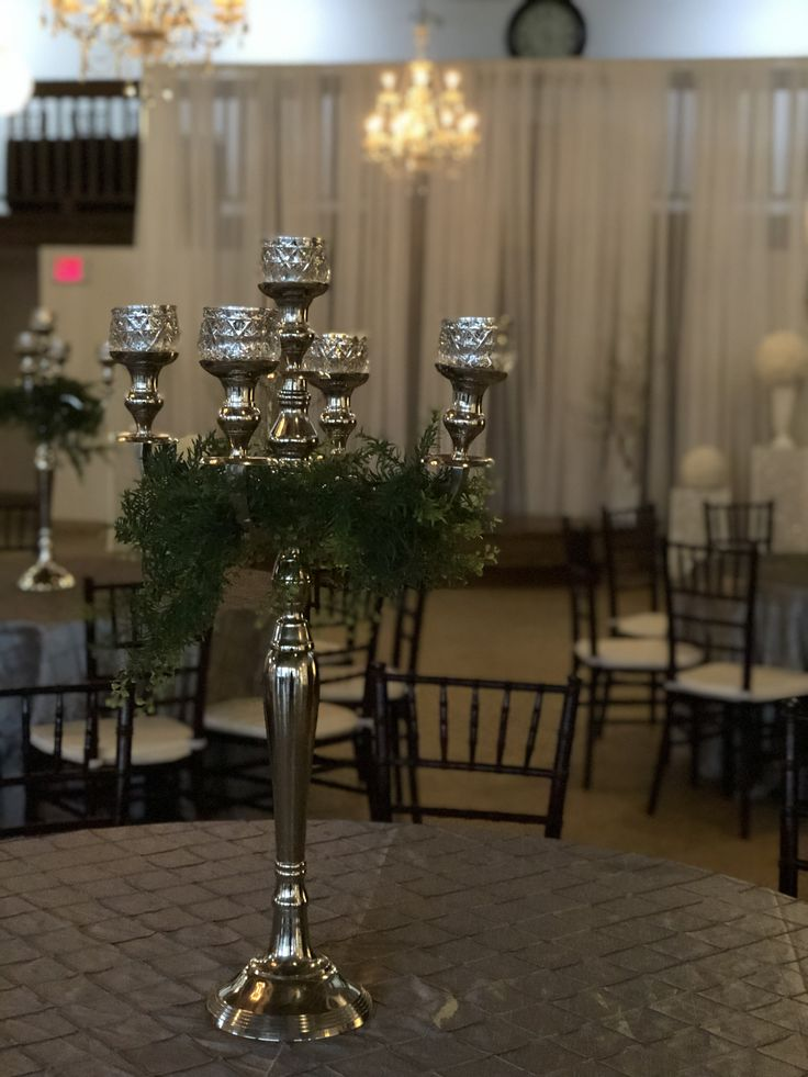 DIAMOND - candelabra with artificial greenery