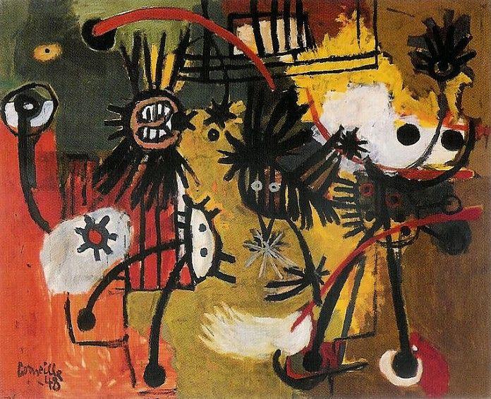Corneille (1922-2010) brengt samen met Karel Appel enige tijd door in Parijs. De schok van Budapest wordt nog versterkt wanneer hij hier kennis maakt met de Denen Asger Jorn en Carl-Henning Pedersen. Vooral de vogels die in het werk van de Denen voorkomen maken grote indruk op hem.Corneille, Vogels, 1948