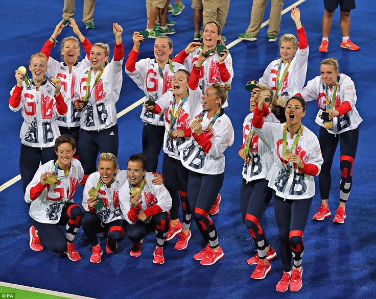 Britain has also earned its first ever gold medals in some sports at these games including the women's hockey event, pictured, with Team GB defeating the Netherlands in a penalty shoot-out