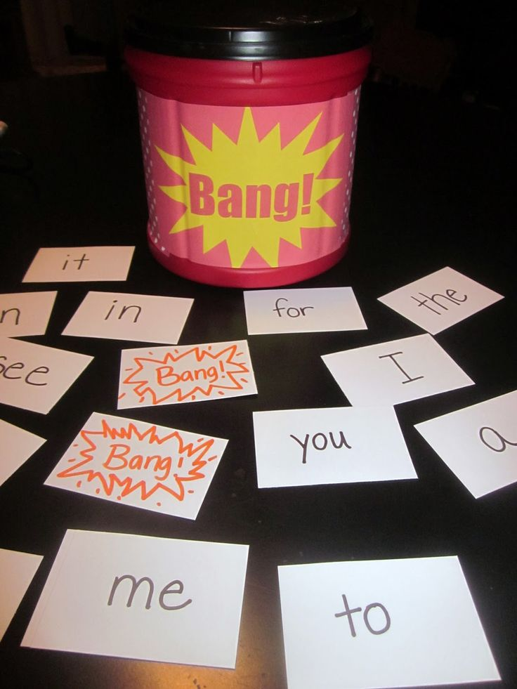 """Bang! is a fun sight word game that is easy to make. Recycle any container and put a cute cover on it that says """"Bang!"""" Put cards with sight words in the container. Also put in several cards that say, """"Bang!"""" A student takes out a card and reads it. If s/he reads the word correctly, s/he will continue to pull out cards. Play switches to another player if the first student misses a word or pulls a """"Bang!"""" card."""