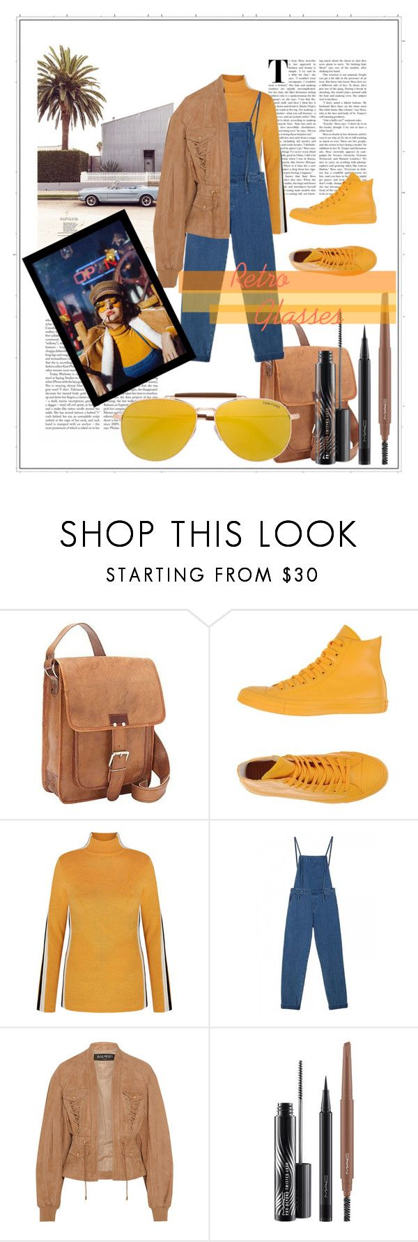 """Retro Fever"" by goldenmermaidx ❤ liked on Polyvore featuring SHARO, Converse, M.i.h Jeans, Balmain, MAC Cosmetics and Tom Ford"