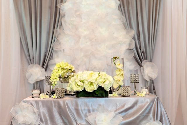 backdrop and bridal table with oversized paper flowers; design by Davis Floral Creations
