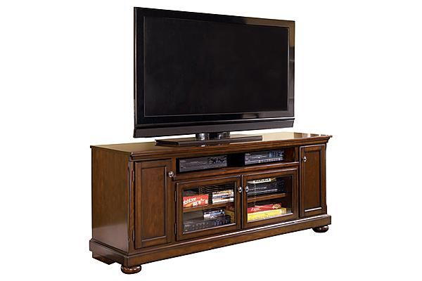 """The Porter 72"""" TV Stand from Ashley Furniture HomeStore (AFHS.com). With a rich rustic beauty radiating from the stylish details, the """"Porter"""" entertainment wall flawlessly transforms the atmosphere of any living room environment."""