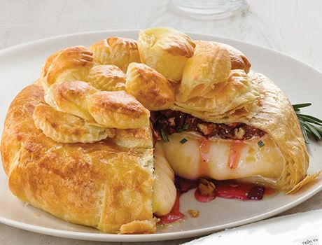 You just cant go wrong with a baked brie! This one features dried cherries, pecans and rosemary.