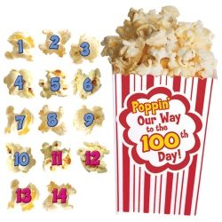 100 Days of Popcorn Bulletin Board Set. Students can pop their way to the 100th day of school with this interactive board, featuring a large popcorn bucket.