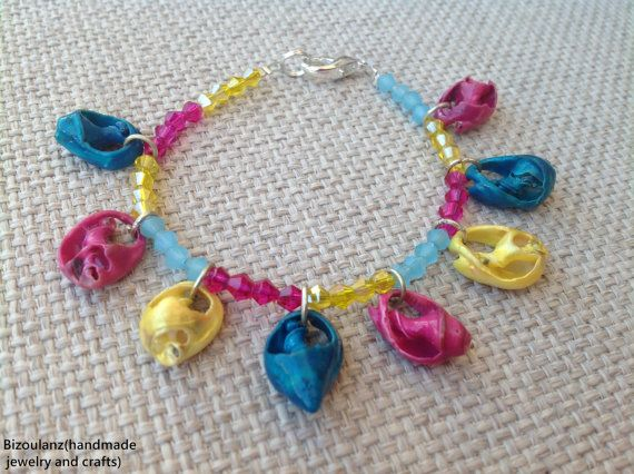Natural neon sea shell ans swarovski crystal bracelet,upcycled/recycled eco friendly jewelry,fluorescent colos pink,teal,yellow by bizoulanz