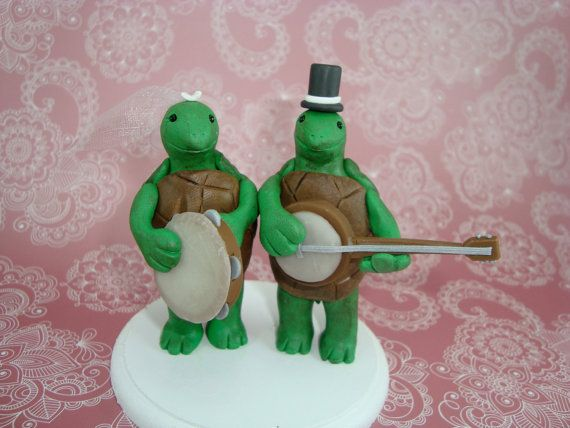 Personalized Terrapin Turtles Wedding Cake Topper