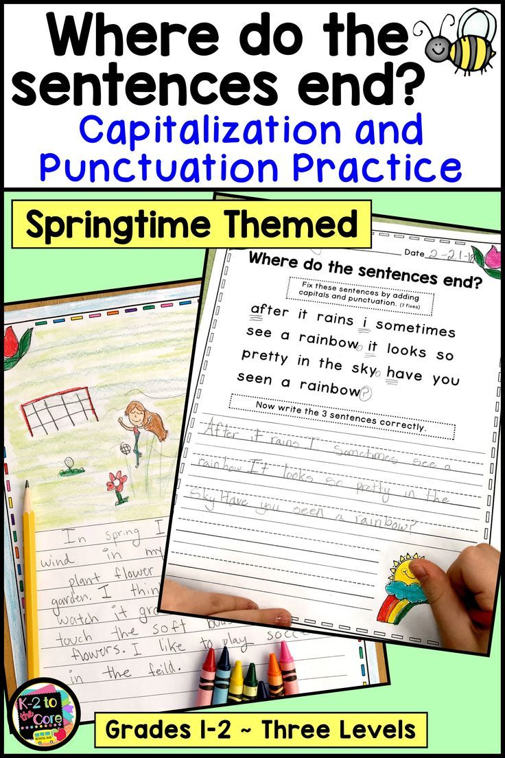 Spring Writing Capitalization And Punctuation Practice Digital And Print Writing Activities Punctuation Spring Writing Activity [ 1104 x 736 Pixel ]