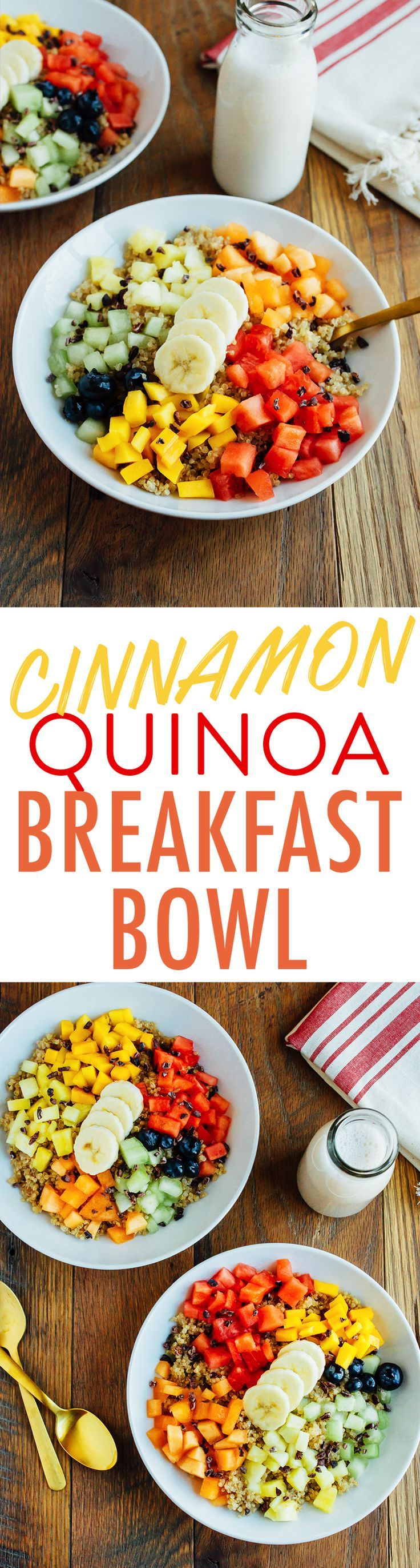 Eat bird food for breakfast with this warm cinnamon quinoa breakfast bowl. Loaded with fresh fruit, cacao nibs and a maple syrup drizzle this bowl is the perfect start to your day. Vegan and gluten-free.