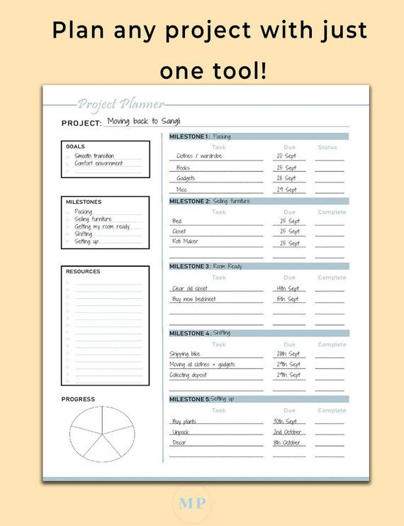 Project Planner, Productivity Planner, Work Planner, Project