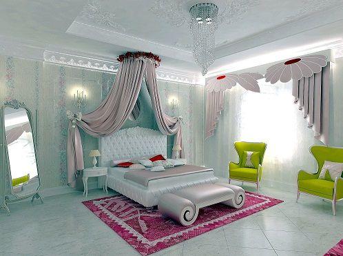 gorkemli genc kiz yatak odasi tasarimlari