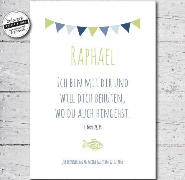 """Weiteres - Taufspruch - Segenswunsch """"RAPHAEL"""" - ein Designerstück von beiwerk bei DaWanda"""