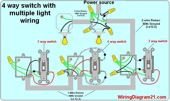 four way switch light wiring diagrams wiring diagrams folder Dimmer Switch Wiring Diagram