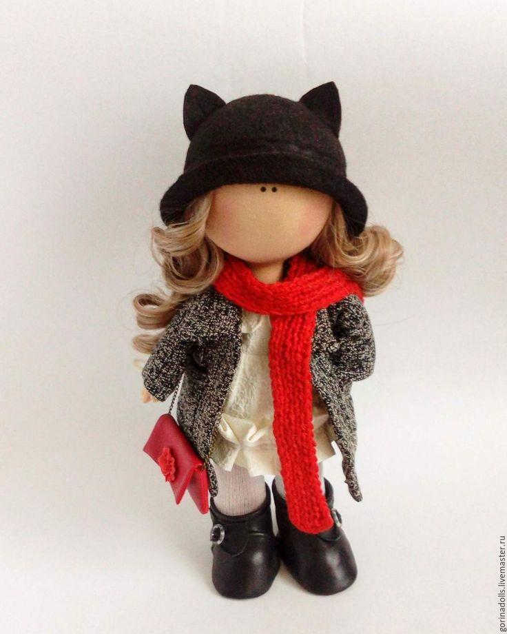 Купить Текстильная кукла Жанна - темно-серый, текстильная кукла, интерьерная кукла