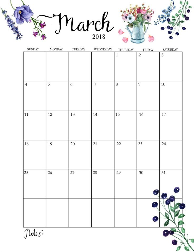 2018-Printable-Monthly-March-Calendar.jpg 816×1060 пикс
