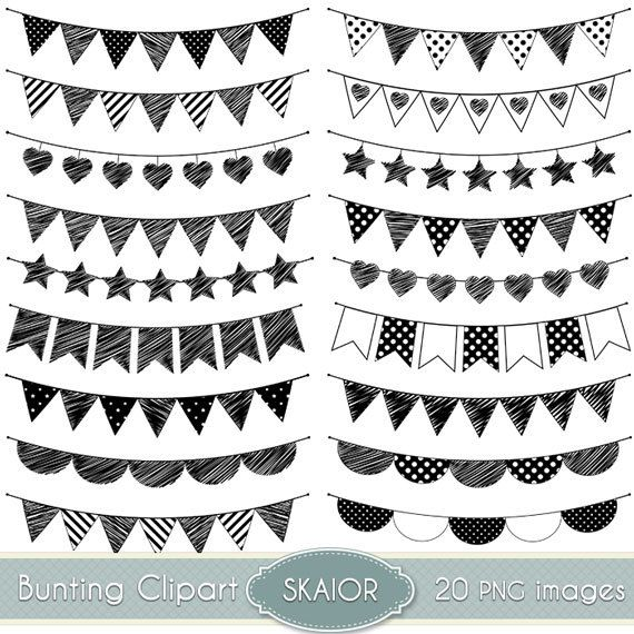 Doodle Bunting Clipart Flags Clipart Bunting Clip Art Garland Clipart Polka Dot…