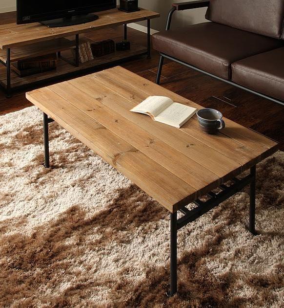 西海岸風 古材とアイアンのローテーブル:ミッドセンチュリー,ヴィンテージ&レトロ,ライトブラウン系,Home's Style(ホームズスタイル)のローテーブルの画像